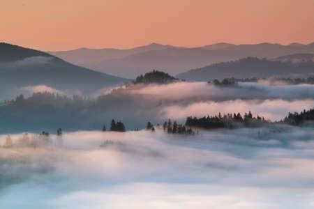 Summer foggy sunrise in the Carpathian hills
