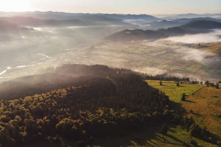 Summer foggy sunrise in the Carpathian hills