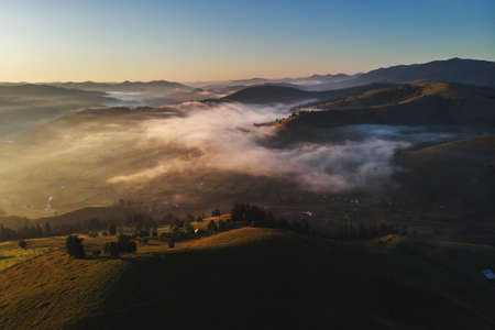 Aerial view of the mountain village in Bucovina Imagens