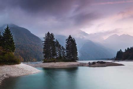 Autumn landscape of Lago del Predil, Italian Alps