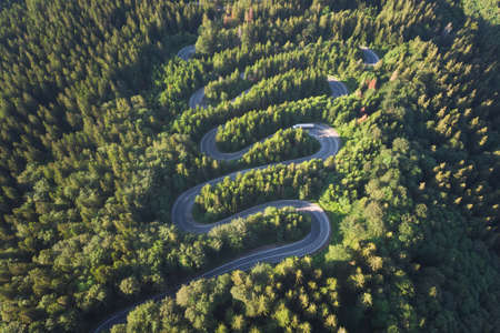 Aerial landscape of mountain winding road, in Transylvania 版權商用圖片