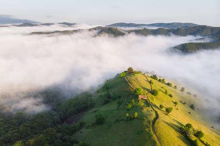 Summer sunrise in the Transylvanian village