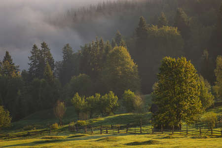 Early fall landscape in the beautiful Romanian villages