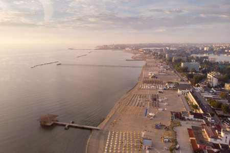 Summer sunrise over Mamaia coastline, at the Black Sea, Romania Stockfoto