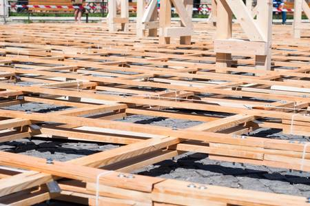 wooden joists: Wood planks with bolted joists from a parametric pavillion Stock Photo