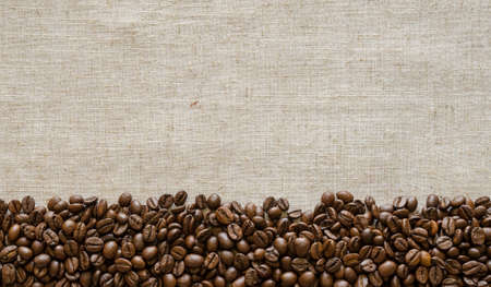 Coffee beans aranged in a line on a textile cloth for a background Stock Photo