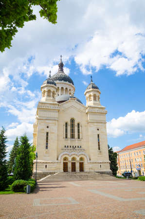 napoca: Cluj Napoca Orthodox Cathedral in portrait view on a sunny summer day with a blue sky and a beautiful look in Transylvania Romania