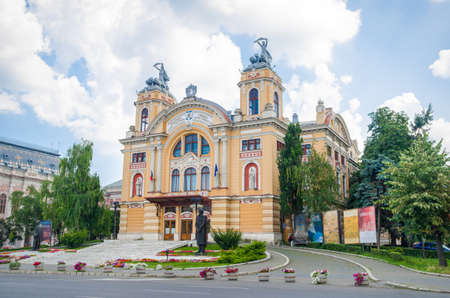 cluj: National Romanian Theatre and Opera House in Cluj Napoca city in the Transylvania region of Romania in a baroque architectural style on a sunny summer day Editorial