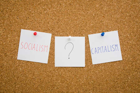 suggested: Debate between socialism and capitalism regarding national politics suggested by [inned notes on a board concept