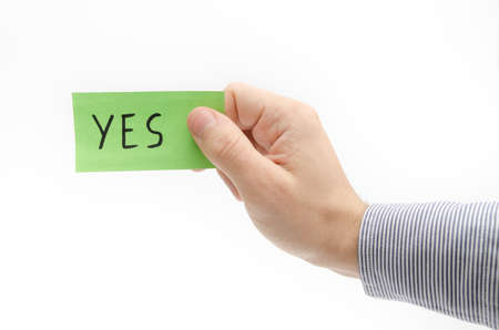 confirms: Yes note suggesting approval and confirmation Stock Photo