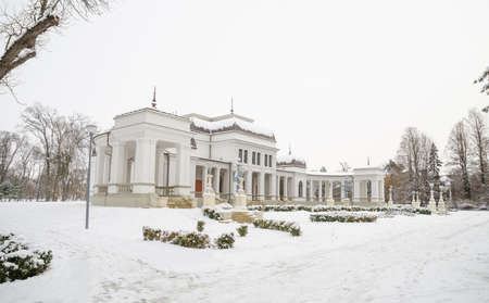 no snow: Cluj Napoca Central Park Casino on a winter day with white snow and trees with no leafs on the background in Transylvania region of Romania