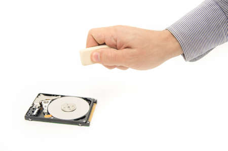 Erasing sensitive data from a hard drive with an eraser