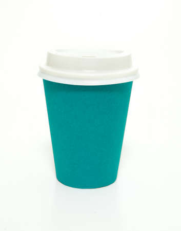 Blue green aqua to go paper coffee cup with lid