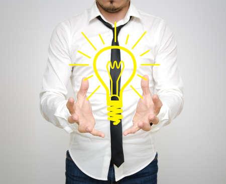 A business man having a bright ideea drawn like a yellow light bulb