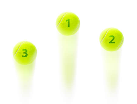 grand slam: Tennis winner podium at a championship suggested by three balls jumping with first second and third place on them suggesting tennis rankings at a grand slam or a championship
