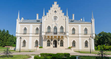 neogothic: Ruginoasa neogothic palace front facade in Moldavian region of Romania Editorial