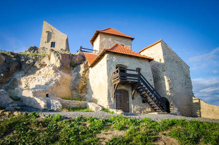 restauration: Old historic fortress of rupea rstaurated in romania transylvania region