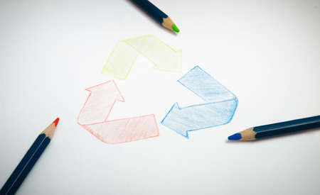 immagination: Recycle sign hand drawing with green red and blue pencils