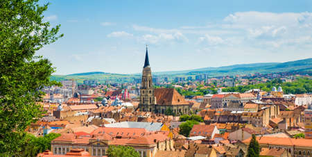 gothic heart: City of Cluj Napoca in Transylvcania province of Romania also the heart of Transylvania and the European Youth Cpital of 2015 is a large university historic and cultural city with a medieval heritage and the gothic church Stock Photo