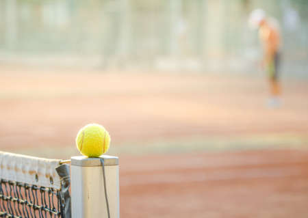 Tennis ball on a net post concept