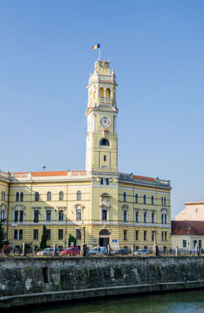 eclectic: Oradea, Romania - 26 October 2015: Oradea town Hall clock tower built in reinassance and eclectic style in the Transylvania region of Romania