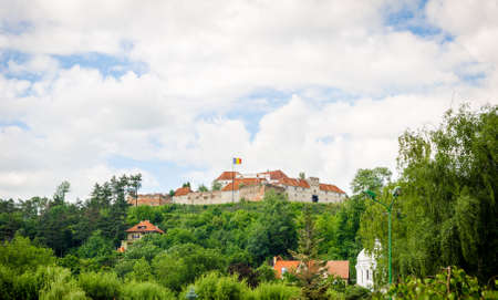 MEdieval fortress of Brasov walls in Transylvania region of Romania with high defence walls and towers suggesting the countrys rich historic and cultural heritage