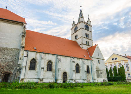 Sebes, Romania - 4 October 2015: Sebes Evangelic Church medieval gothic monument on a cloudy bright autumn day in the Transykvania region of Romania