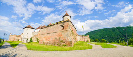 Brasov Guard Fortress on the hill above wich is a medieval fortification now a tourist attraction in Transylvania region of Romania in the carpathian Mountains Editorial