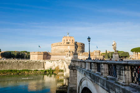 pons: ROME, ITALY - 1 December 2015: SantAngelo Castel and the Aelius Bridge Ponte or Pons on the bank of the Tiber. Beautiful attractions in this ancient city with lots of culture and heritage