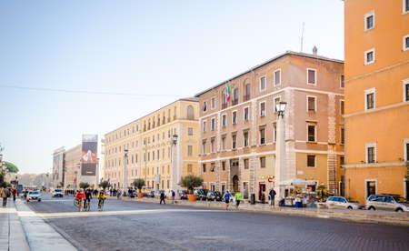 ROME, ITALY - 29 November 2015: Via della Conciliatione Conciliation Road in Rome leading to the Vatican St Peters Square and Basilica