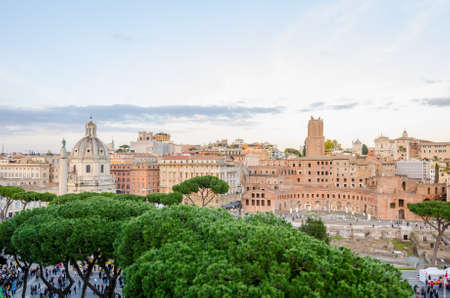 ROME, ITALY - 1 December 2015: View of the old historic part of Rome with the Trajan Column and other ancient buildings in this beutiful open air museum