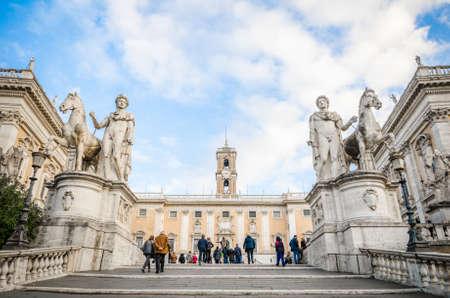 ROME, ITALY - 1 December 2015: Campidoglio, Comune di Roma town hall and Cordonata Editorial