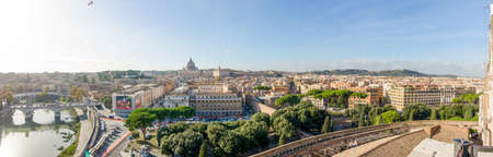 ROME, ITALY - 1 December 2015: Panoramic view of Rome on a sunnywinter day from the Castel SantAngelo with St Peter Basilica, Via della Conciliazione and the rest of the historic roman buildings