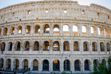 ROME, ITALY - 29 November 2015: Colosseum exterior most well preserved facade with arches Editorial