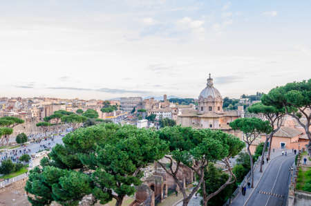 ROME, ITALY - 1 December 2015: View of the old historic part of Rome with the Colosseum and other ancient ruins in thie wonderful toruistic destination