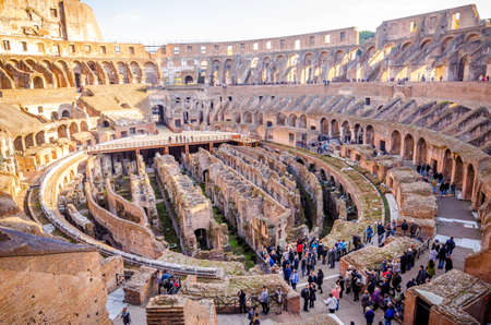 ROME, ITALY - 29 November 2015: Colosseum interior  view with the remains of the old underground structure. systems and tunnels under the arena Editorial