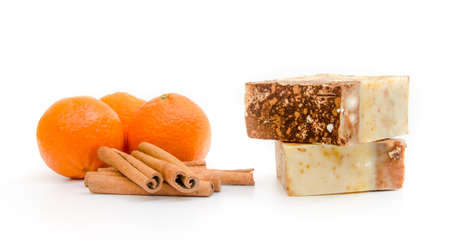 Orange and cinnamon home made soap from natural ingredients with a powerful fruit scent and aroma suggesting organic healthy cleaning product