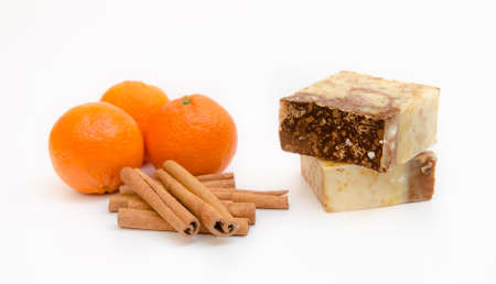 Orange scented soap Stock Photo