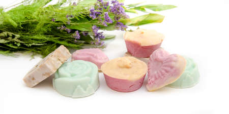 Home made natural healthy soap with no toxic chemicals made from plants and herbs like levander in cute forms suggesting green friendly beauty products Stock Photo