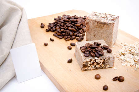 Traditional home made soap with coffe and rice Stock Photo