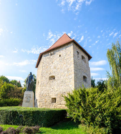 Taylors bastion tower and the statue of Baba Novac romanian hero. A medieval construction built for defence purpose in Cluj-Napoca city, Transylvania region of Romania in Europe Editorial