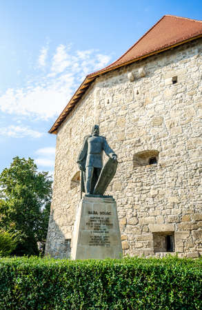 Baba Novac statue in front of the Taylors bastion in Cluj Napoca, Transylvania region of Romania. The monument of romanian medieval war hero and army commander