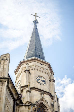 Detail of the clock tower from the Saint Michael Gothic Church in Cluj Napoca, Transylvania region of Romania. A wonderful neo gothic architectural monument