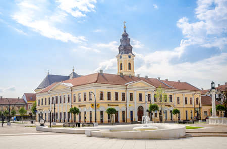 10 September 2016 - Oradea, Romania: Classic baroque Greek-Catholic Church and the classicist Kovats House in the Unirii Square of this wonderful European destination