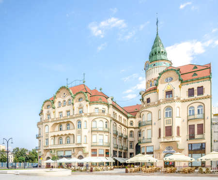10 September 2016 - Oradea, Romania: The Black Eagle ( Vu�turul Negru ) Complex in the Unirii Square, a beautiful commercial center built at the beginning of the 20th centruy in secession architectural style Editorial