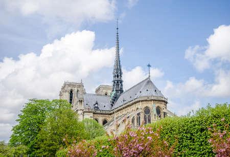 Blick auf die Kathedrale Notre Dame de Paris von der Ost- und Südfassade mit wunderschönen Blumen und Bäumen an einem sonnigen Tag in dieser wunderschönen europäischen Stadt mit den fliegenden Strebepfeilern und dem Turm auf diesem architektonischen Wahrzeichen
