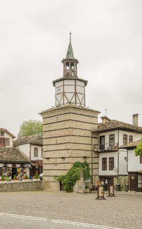 Tryavna, Bulgaria - 26 september 2017: Tryavna clock tower in the town center of this world heritage site Editorial
