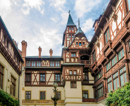 Sinaia, Romania - 27 September 2017: View of the interior courtyard at the Peles Castle in Romania with beautiful details