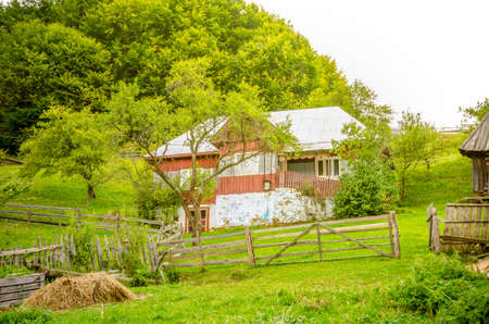 Old house in a rural transylvanian village in Romania with fresh green grass and a forest on the back Stock Photo