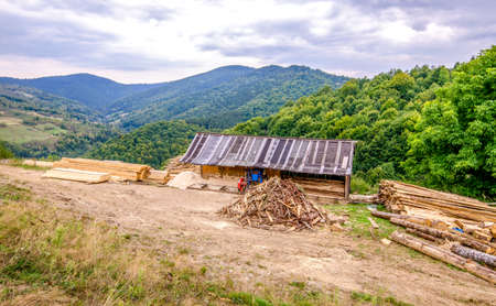 Old improvised sawmill on a mountain peak with a lot of timber and lumber laying around in piles and green trees on the back
